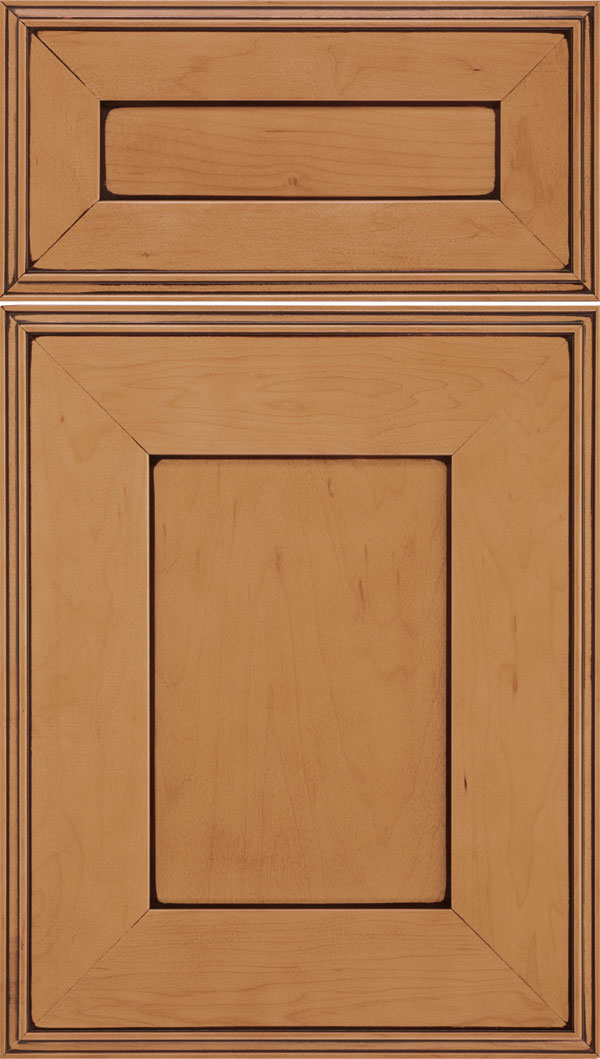 Elan 5pc Maple flat panel cabinet door in Ginger with Mocha glaze