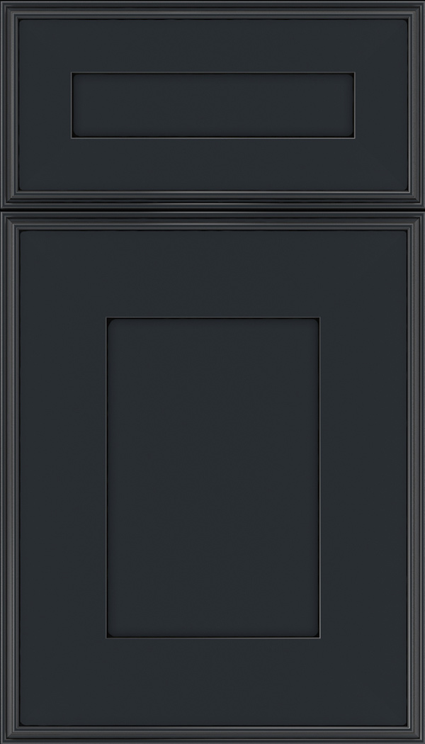 Elan 5pc Maple flat panel cabinet door in Gunmetal Blue with Black glaze