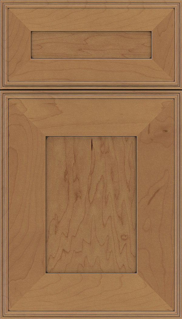 Elan 5pc Maple flat panel cabinet door in Nutmeg with Mocha glaze