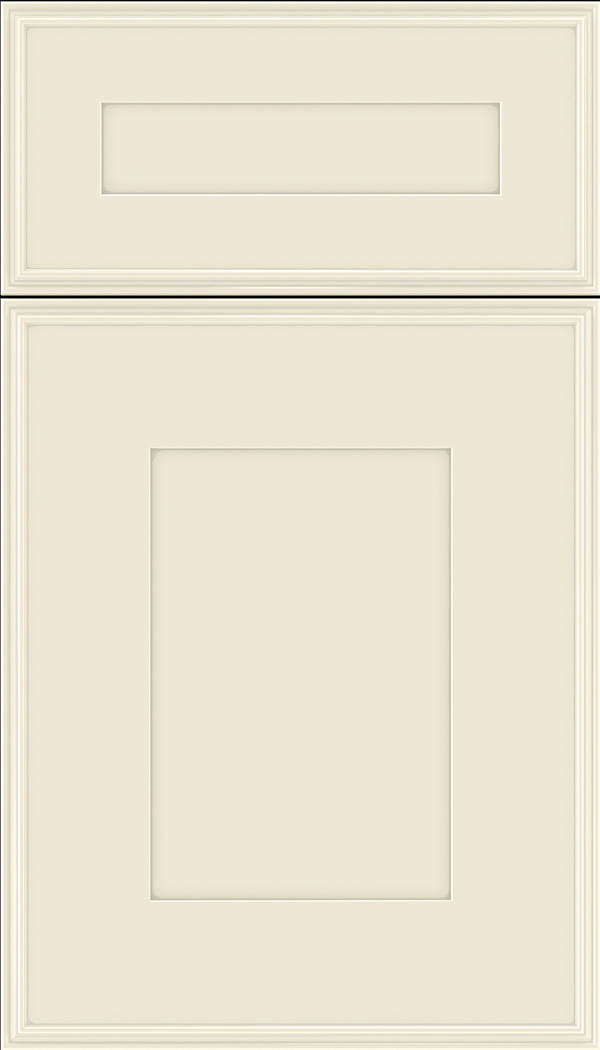 Elan 5pc Maple flat panel cabinet door in Seashell with Pewter glaze