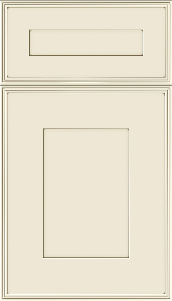 Elan 5pc Maple flat panel cabinet door in Seashell with Smoke glaze
