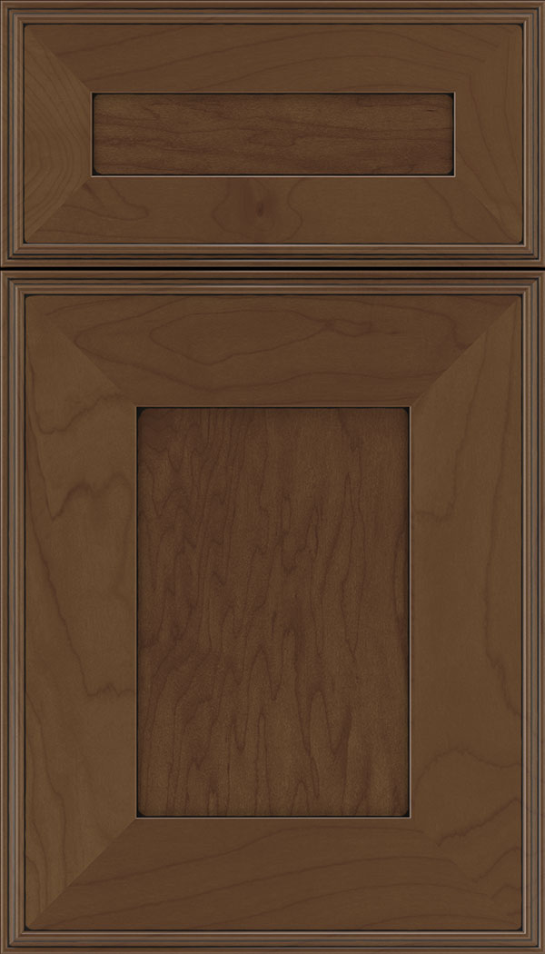 Elan 5pc Maple flat panel cabinet door in Sienna with Black glaze