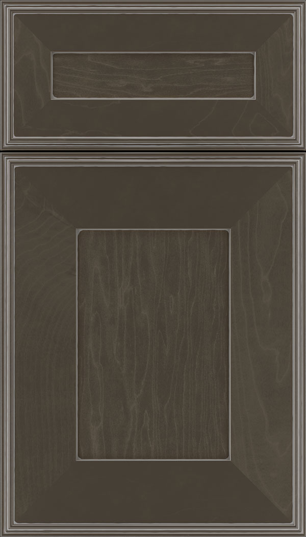 Elan 5pc Maple flat panel cabinet door in Thunder with Pewter glaze