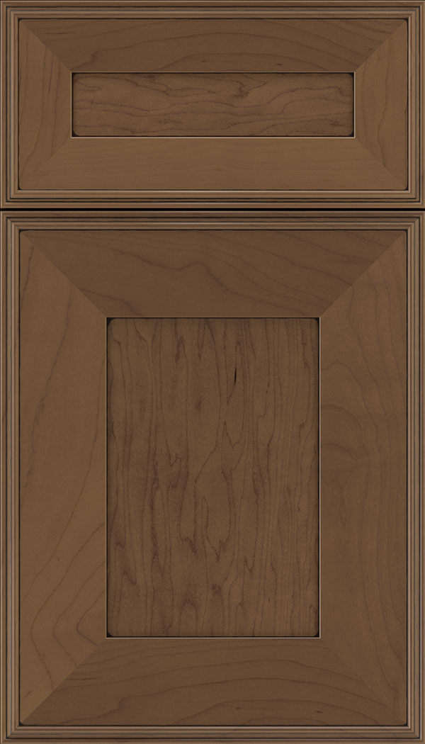 Elan 5pc Maple flat panel cabinet door in Toffee with Black glaze