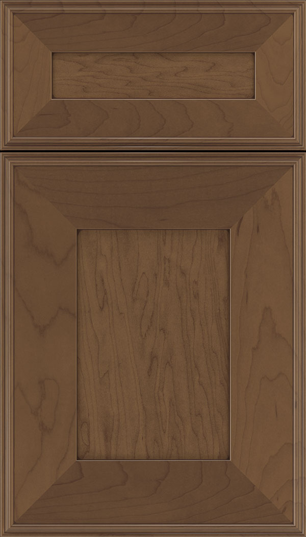 Elan 5pc Maple flat panel cabinet door in Toffee with Mocha glaze