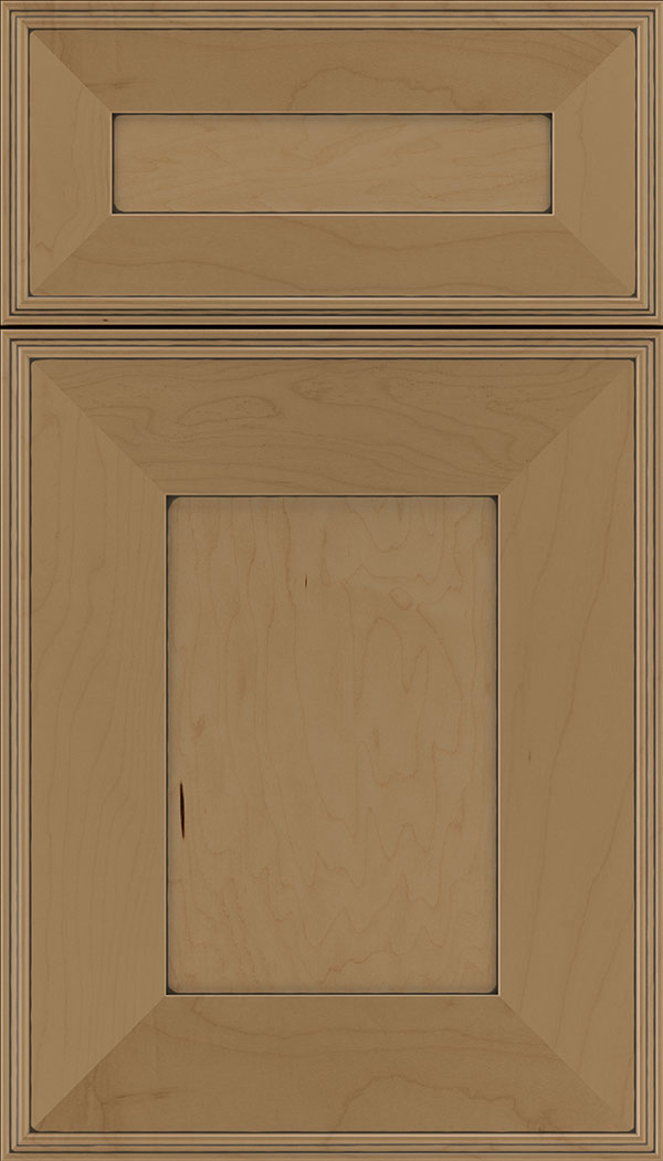 Elan 5pc Maple flat panel cabinet door in Tuscan with Black glaze