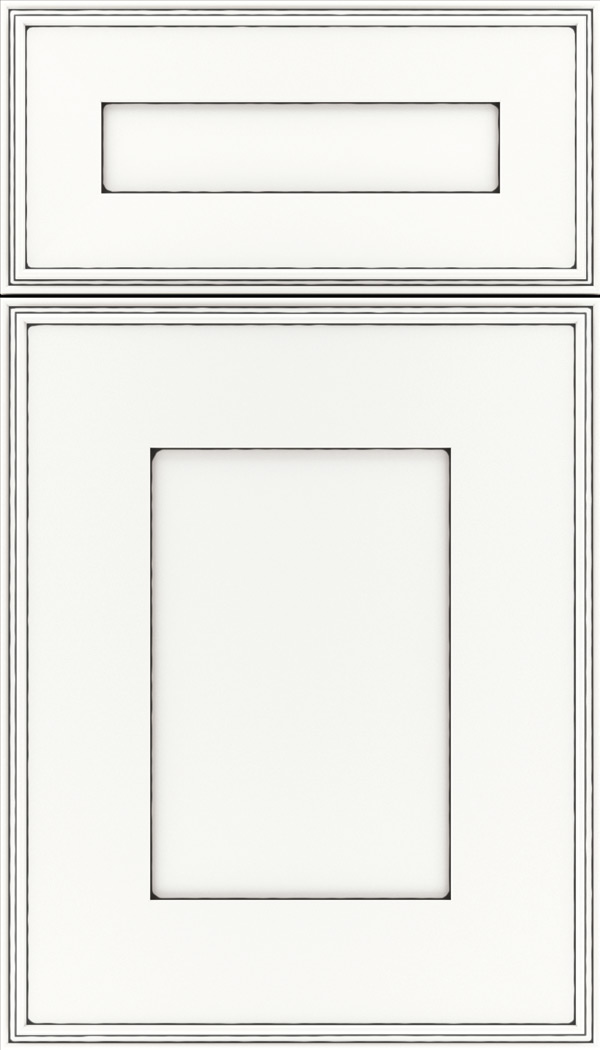 Elan 5pc Maple flat panel cabinet door in Whitecap with Black glaze