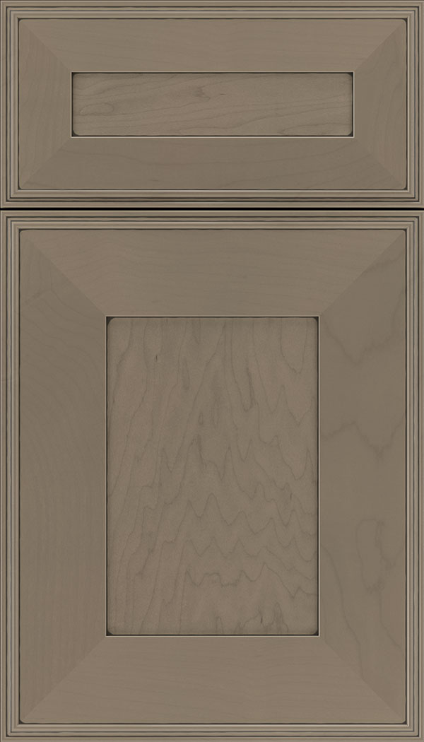 Elan 5pc Maple flat panel cabinet door in Winter with Black glaze