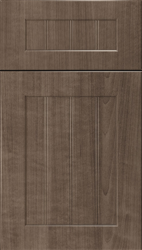 Glendale 5pc Thermofoil beadboard cabinet door in Warm Walnut