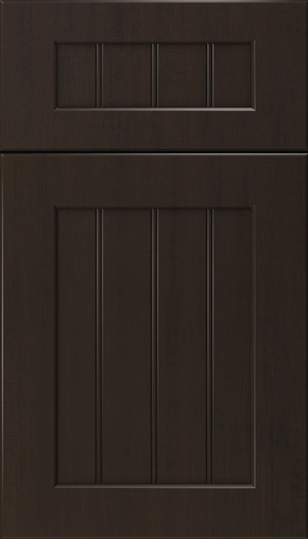 Glendale 5pc Thermofoil beadboard cabinet door in Woodgrain Sambuca