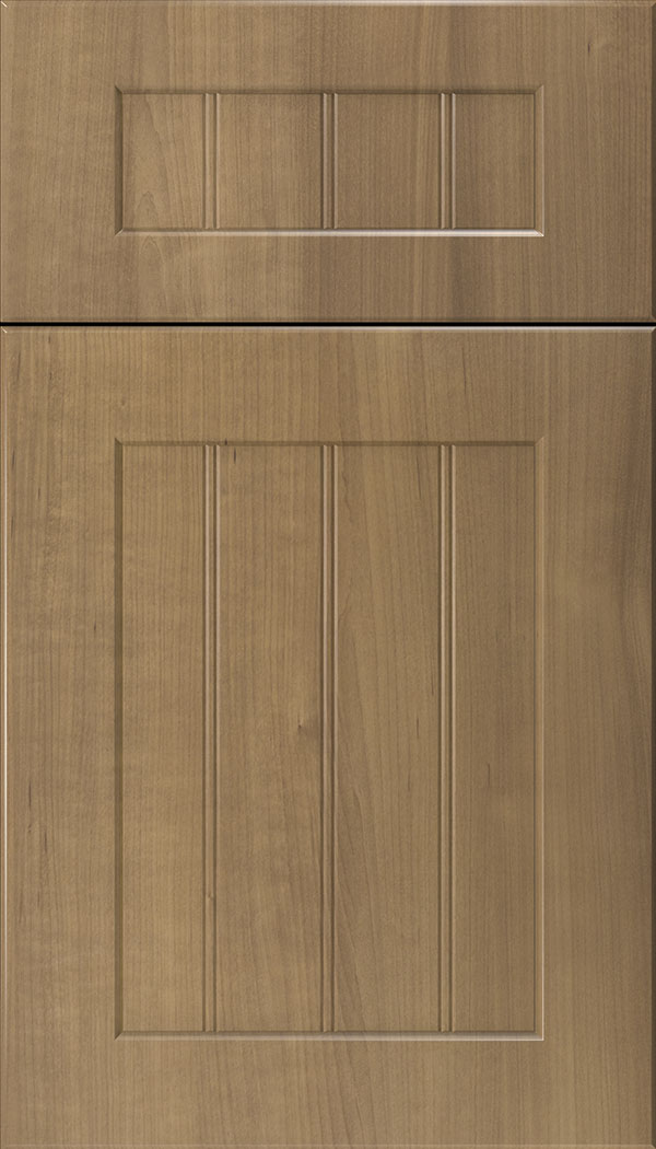 Glendale 5pc Thermofoil beadboard cabinet door in Woodgrain Satinwood
