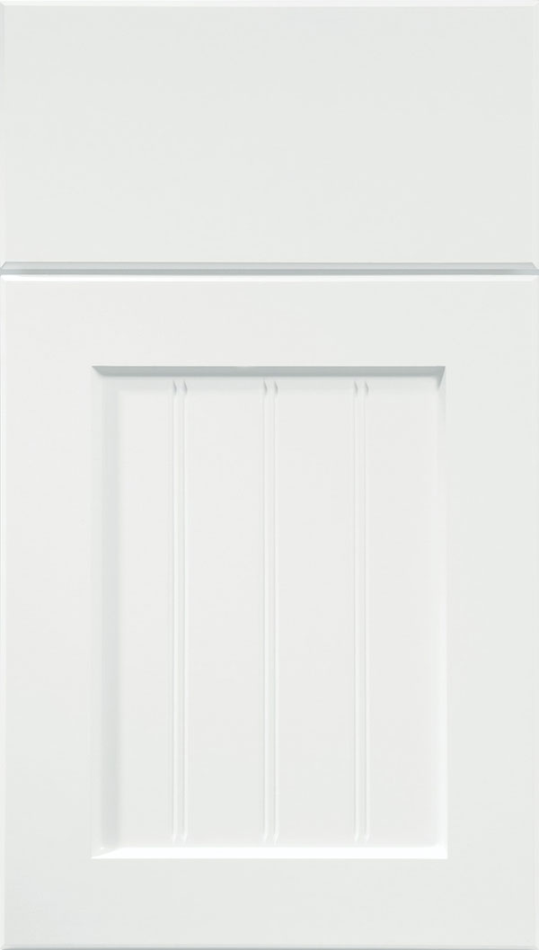 Glendale Thermofoil Beadboard cabinet door in Satin White