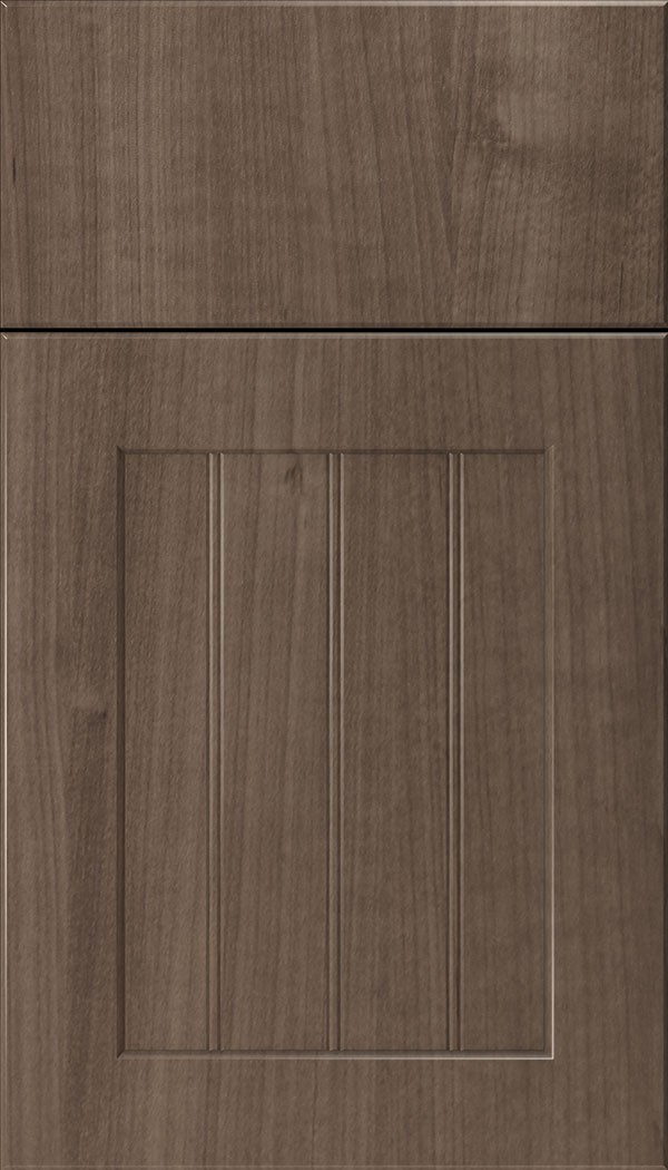 Glendale Thermofoil beadboard cabinet door in Warm Walnut