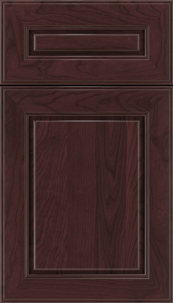Hampton 5pc Cherry raised panel cabinet door in Bordeaux