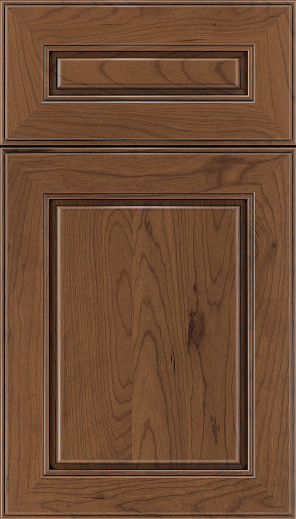 Hampton 5pc Cherry raised panel cabinet door in Nutmeg with Black glaze