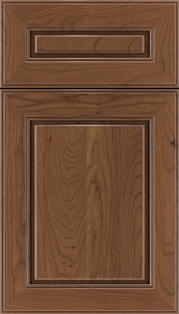 Hampton 5pc Cherry raised panel cabinet door in Nutmeg with Mocha glaze