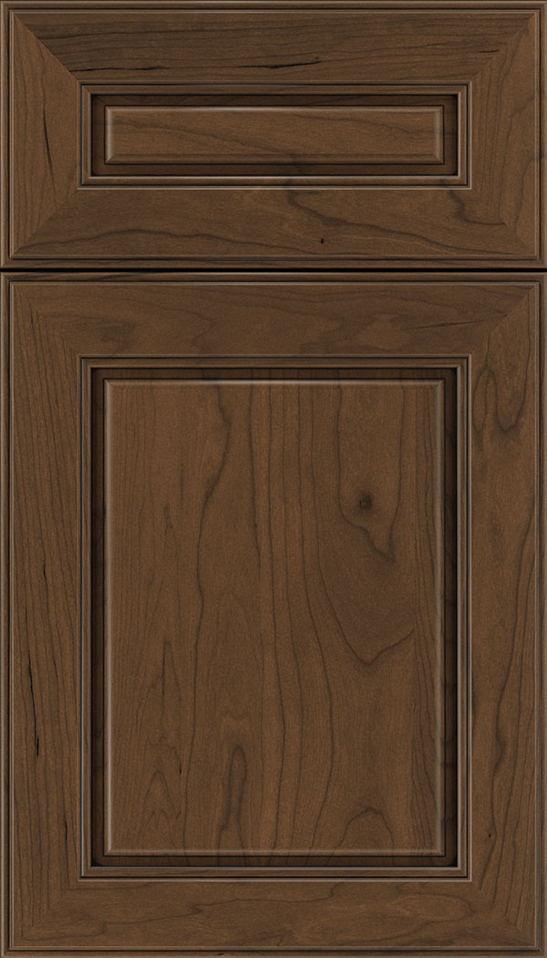 Hampton 5pc Cherry raised panel cabinet door in Sienna with Black glaze