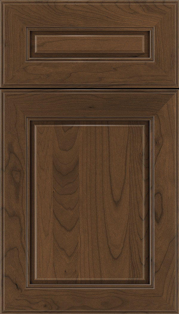 Hampton 5pc Cherry raised panel cabinet door in Sienna with Mocha glaze