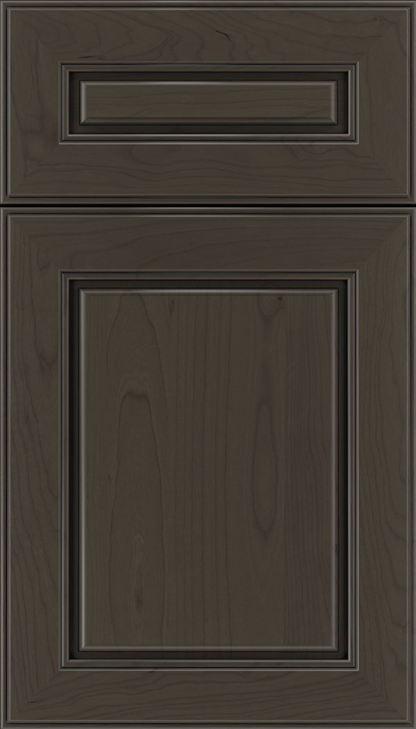 Hampton 5pc Cherry raised panel cabinet door in Thunder with Black glaze