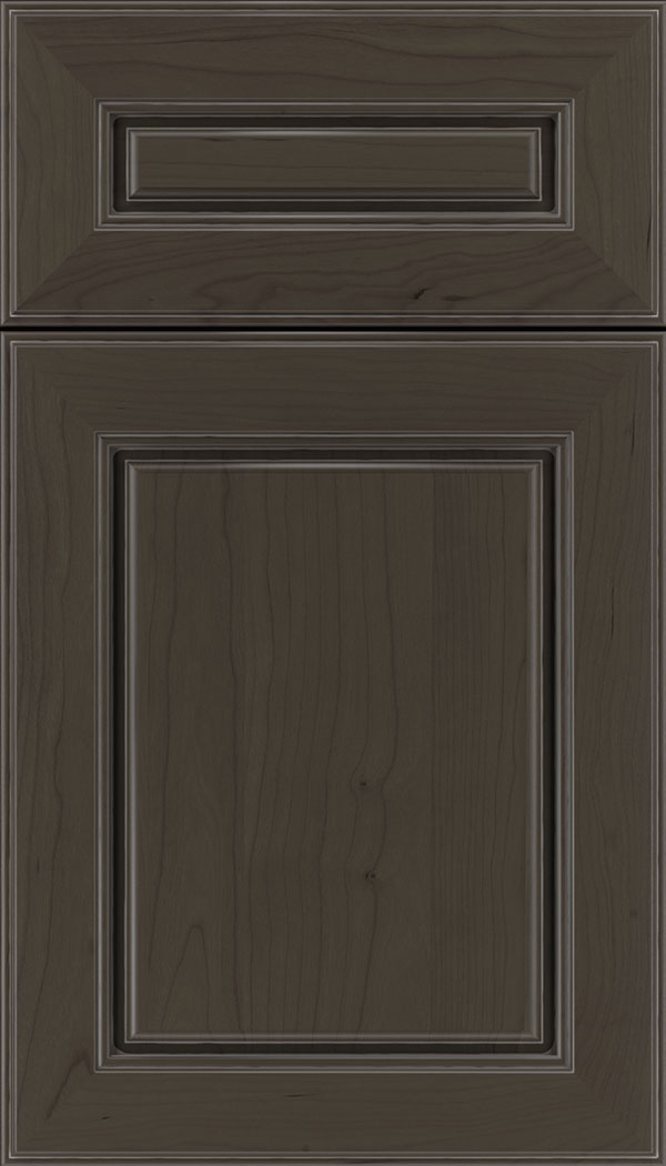 Hampton 5pc Cherry raised panel cabinet door in Thunder with Pewter glaze