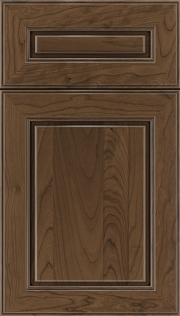 Hampton 5pc Cherry raised panel cabinet door in Toffee with Mocha glaze