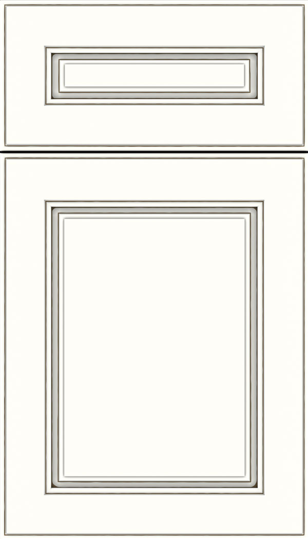 Hampton 5pc Maple raised panel cabinet door in Alabaster with Smoke glaze