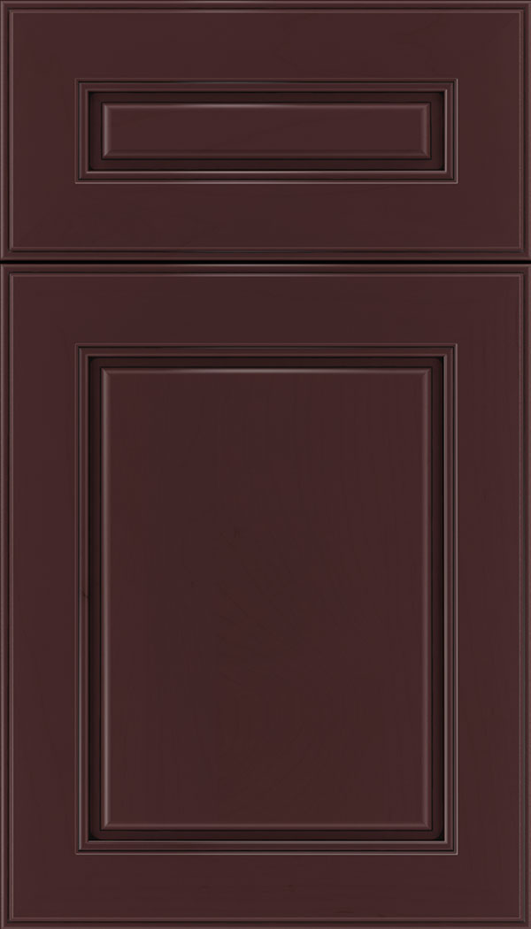 Hampton 5pc Maple raised panel cabinet door in Bordeaux with Black glaze