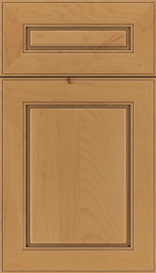 Hampton 5pc Maple raised panel cabinet door in Ginger with Black glaze