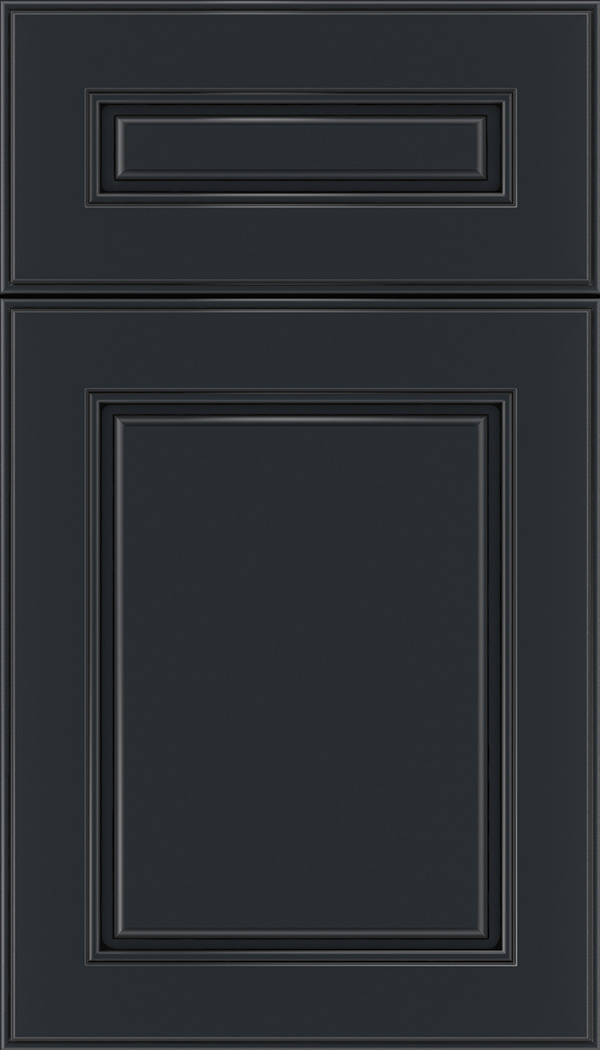Hampton 5pc Maple raised panel cabinet door in Gunmetal Blue with Black glaze