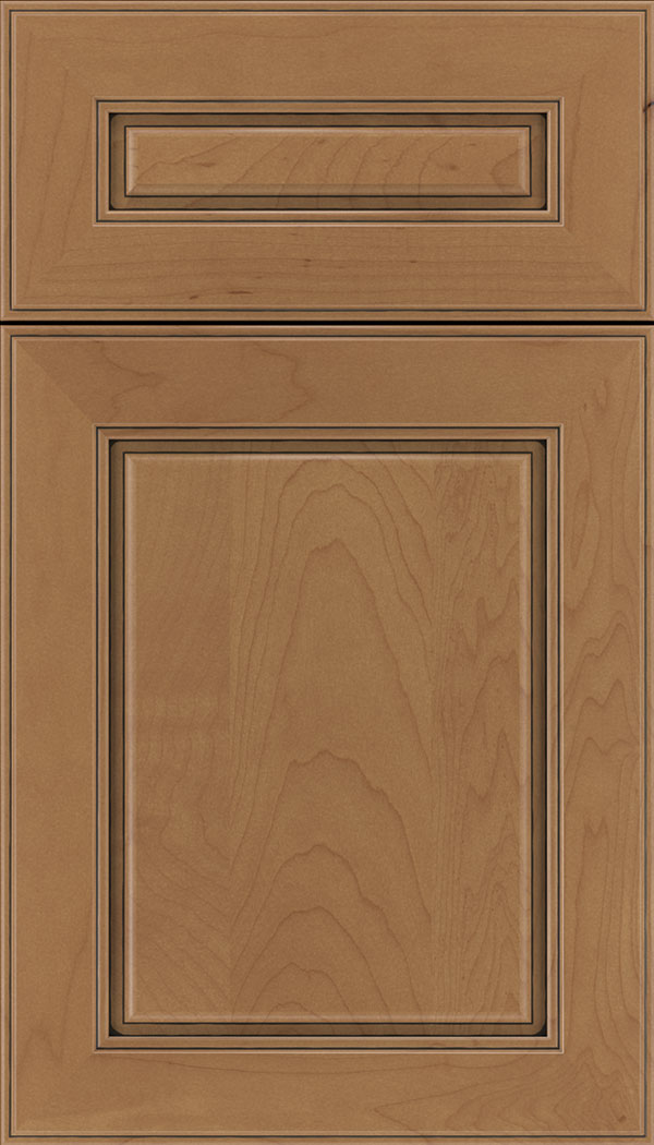 Hampton 5pc Maple raised panel cabinet door in Nutmeg with Black glaze