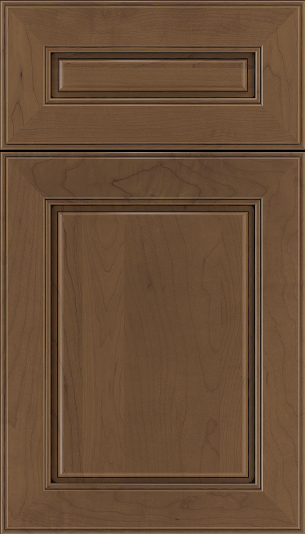 Hampton 5pc Maple raised panel cabinet door in Toffee with Black glaze