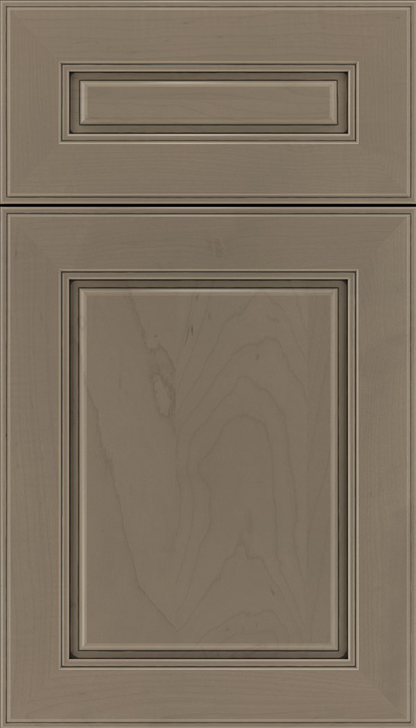 Hampton 5pc Maple raised panel cabinet door in Winter with Black glaze
