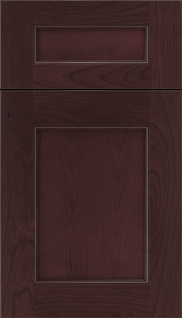Lexington 5pc Cherry recessed panel cabinet door in Bordeaux