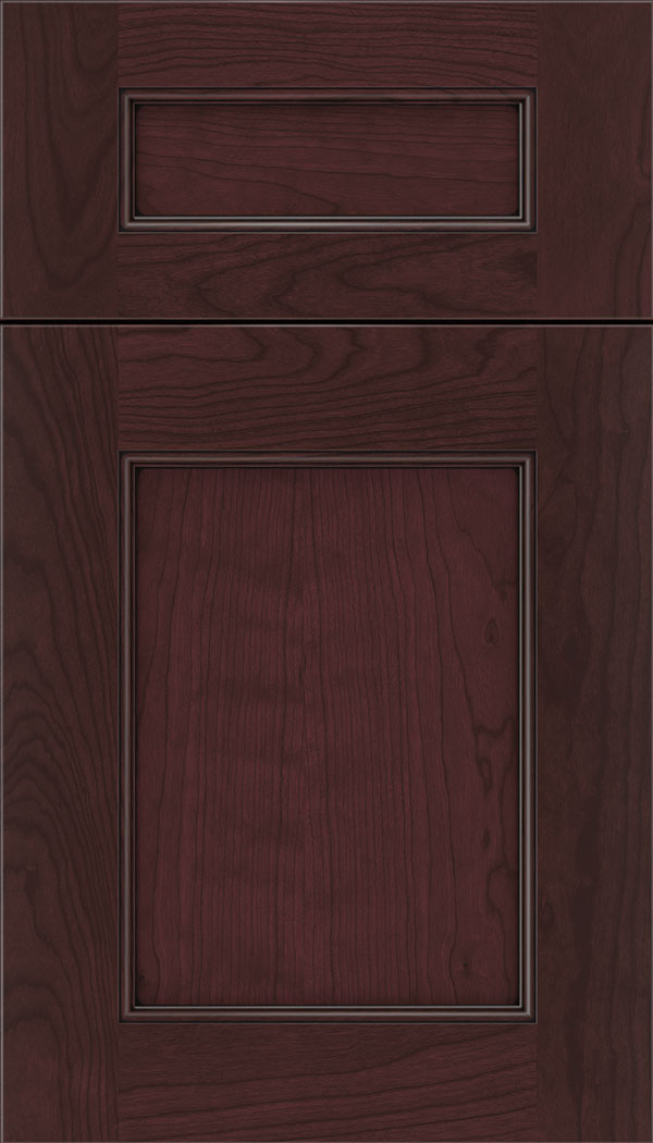 Lexington 5pc Cherry recessed panel cabinet door in Bordeaux with Black glaze