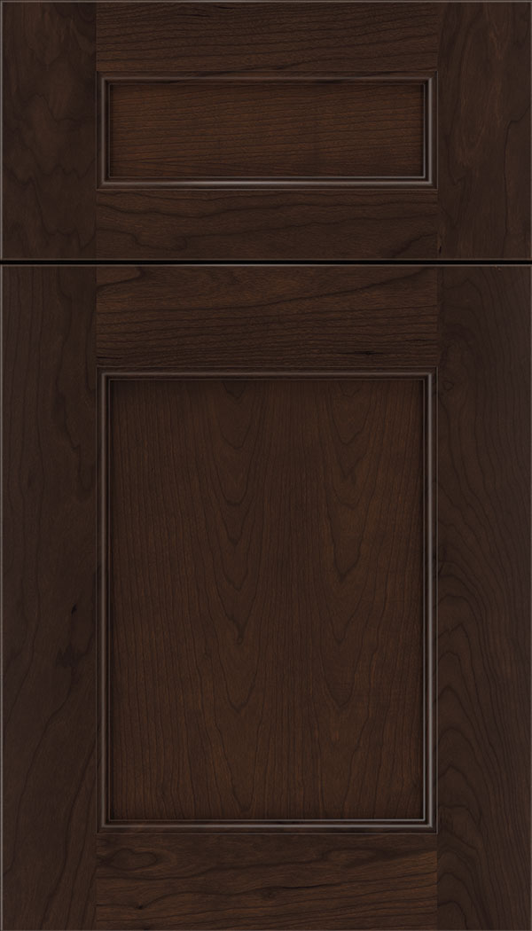 Lexington 5pc Cherry recessed panel cabinet door in Cappuccino