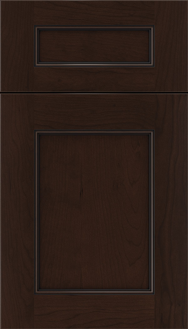 Lexington 5pc Cherry recessed panel cabinet door in Cappuccino with Black glaze