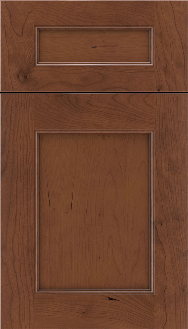 Lexington 5pc Cherry recessed panel cabinet door in Russet