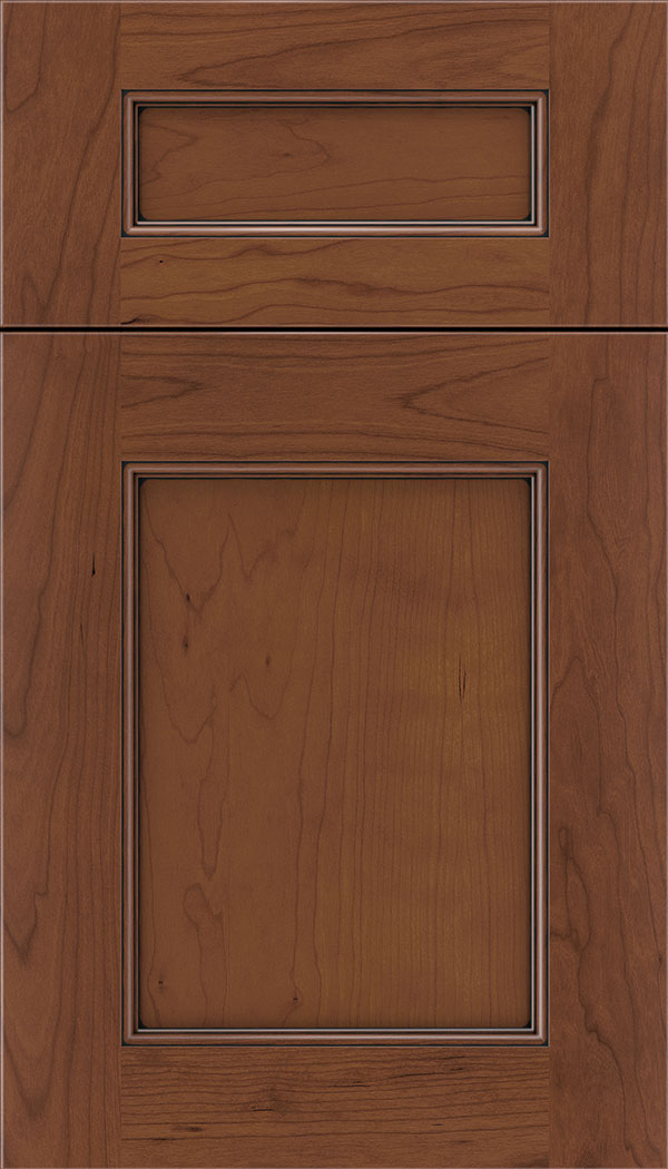Lexington 5pc Cherry recessed panel cabinet door in Russet with Black glaze