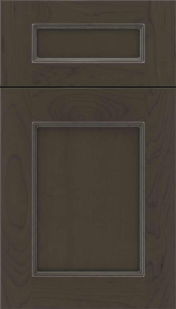 Lexington 5pc Cherry recessed panel cabinet door in Thunder with Pewter glaze