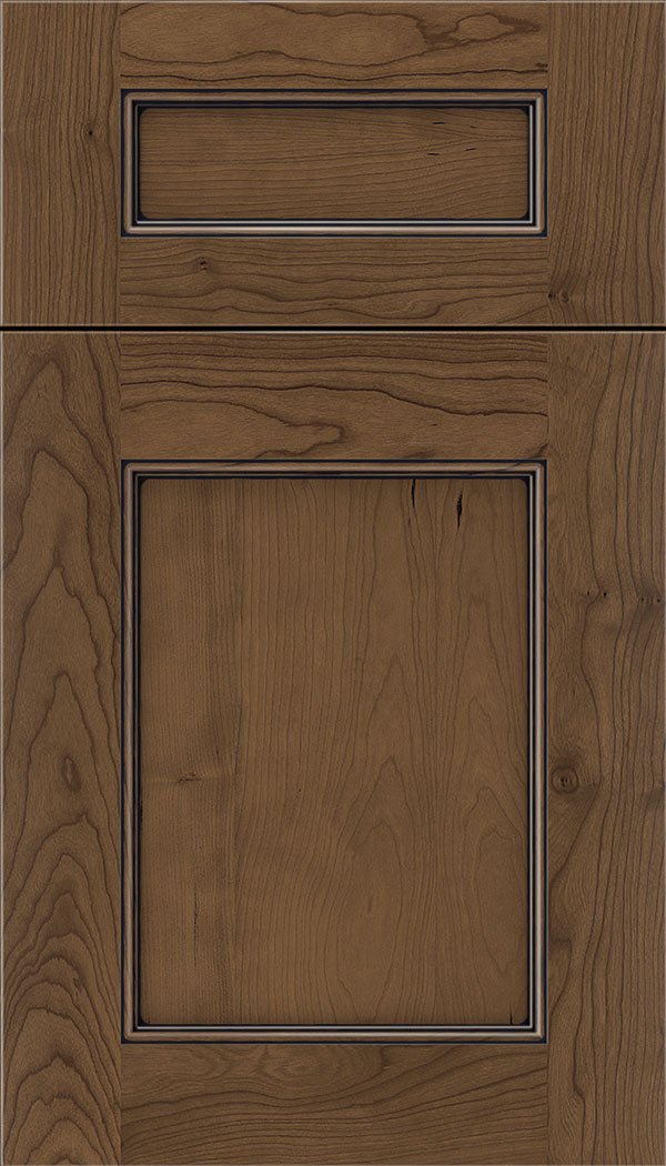 Lexington 5pc Cherry recessed panel cabinet door in Toffee with Black glaze