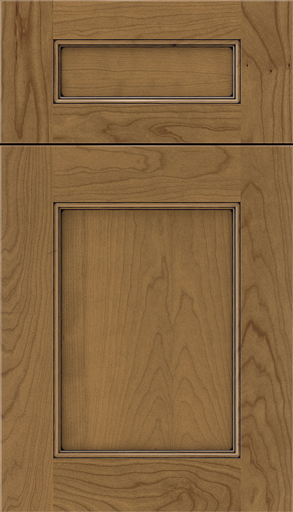 Lexington 5pc Cherry recessed panel cabinet door in Tuscan with Black glaze