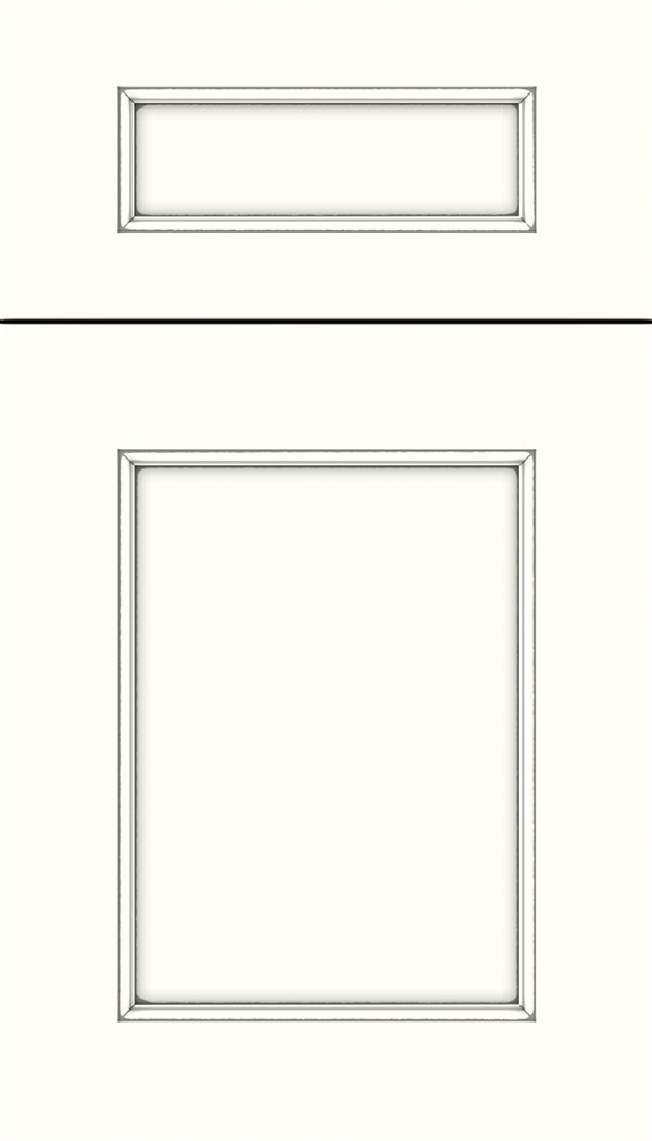 Lexington 5pc Maple recessed panel cabinet door in Alabaster with Pewter glaze