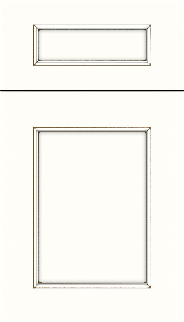 Lexington 5pc Maple recessed panel cabinet door in Alabaster with Smoke glaze