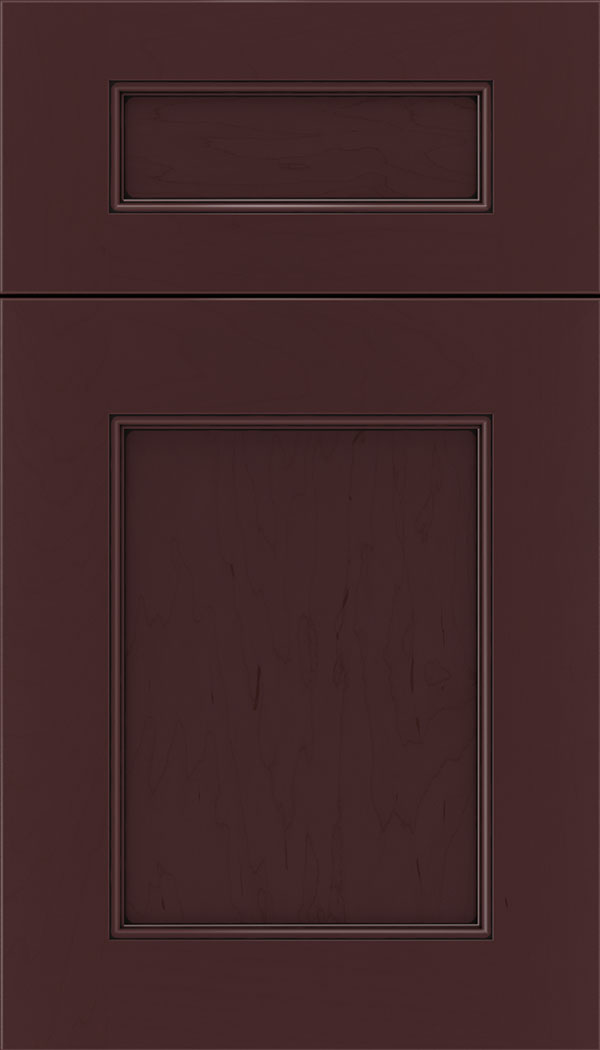Lexington 5pc Maple recessed panel cabinet door in Bordeaux with Black glaze