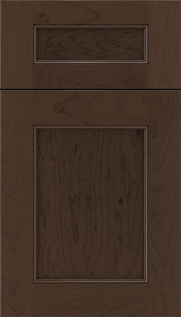 Lexington 5pc Maple recessed panel cabinet door in Cappuccino with Black glaze