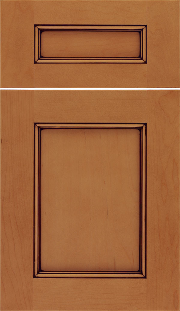 Lexington 5pc Maple recessed panel cabinet door in Ginger with Mocha glaze
