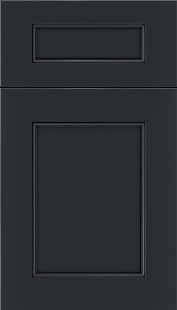 Lexington 5pc Maple recessed panel cabinet door in Gunmetal Blue with Black glaze