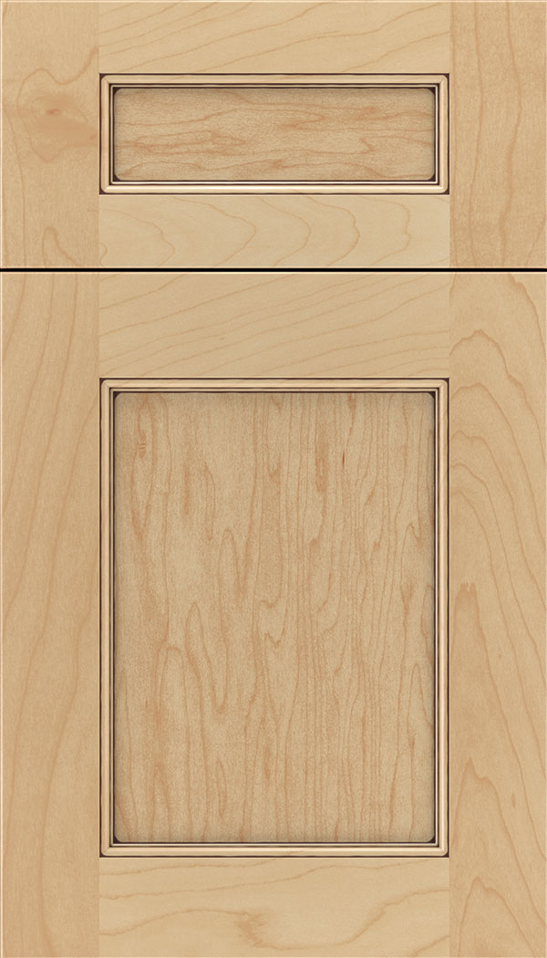 Lexington 5pc Maple recessed panel cabinet door in Natural with Mocha glaze