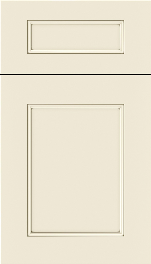 Lexington 5pc Maple recessed panel cabinet door in Seashell with Smoke glaze