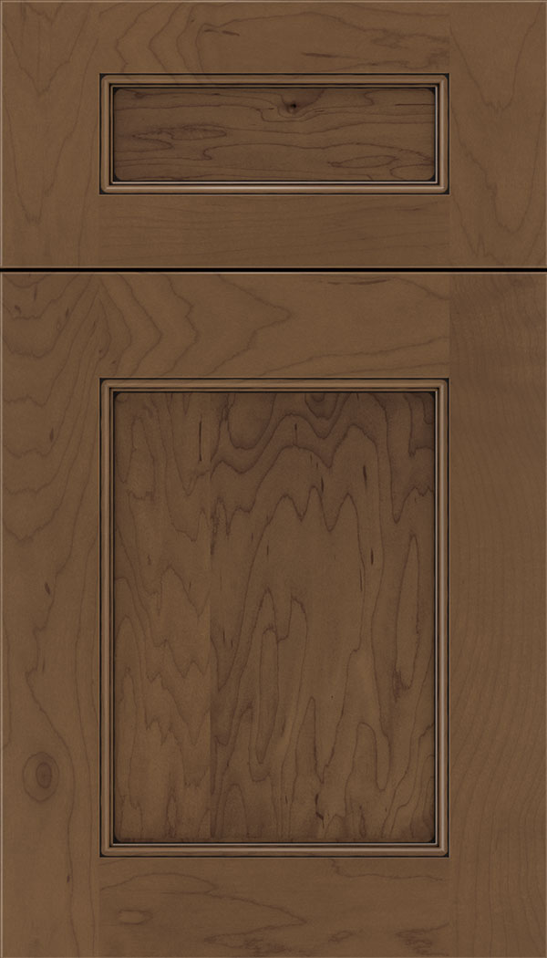 Lexington 5pc Maple recessed panel cabinet door in Toffee with Black glaze